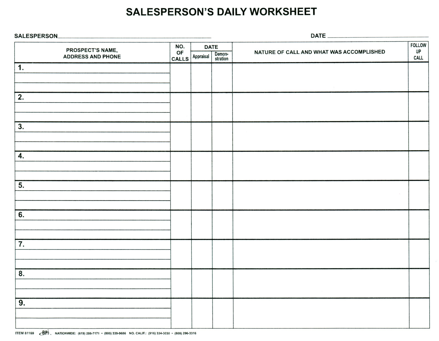 Salesperson Daily Worksheet