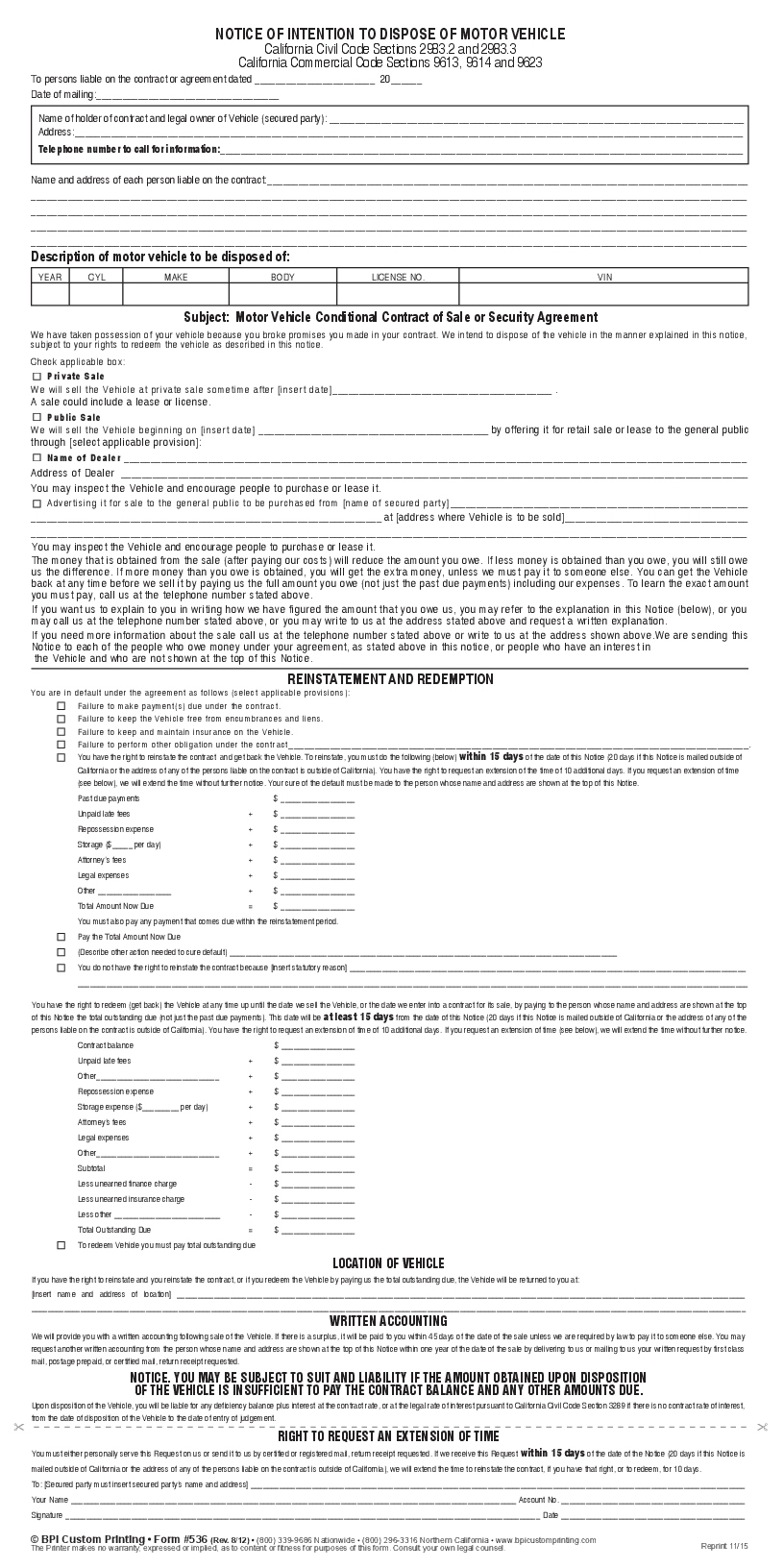 vehicle appraisal form business templates 536 r1508 notice of intention to dispose motor - Vehicle Appraisal Form