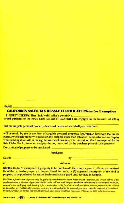 Double California Sales Tax Resale Certificate - BPI Dealer Supplies