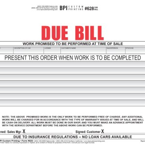 Standard Due Bill for Auto Dealers