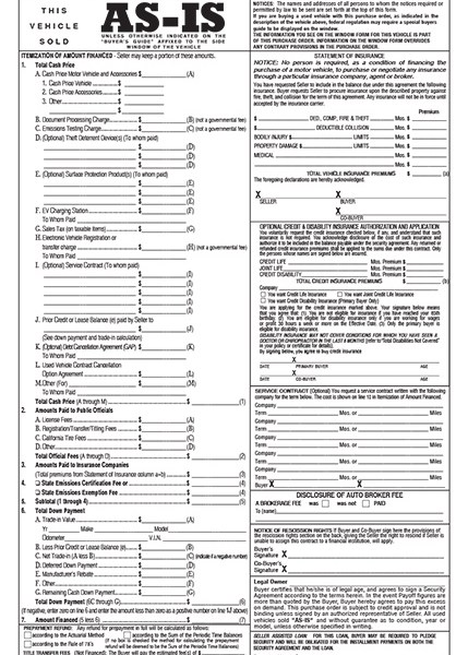 vehicle purchase form