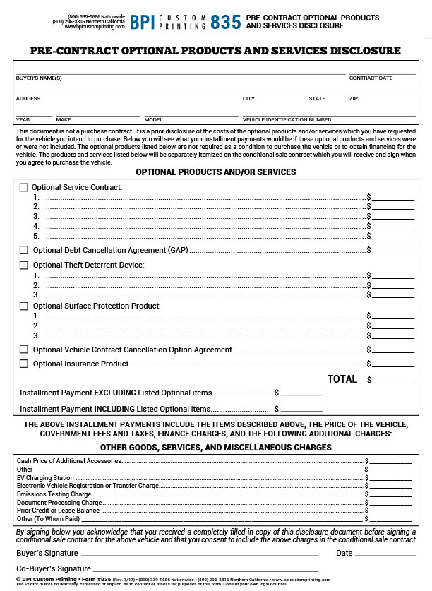 Pre-Contract Optional Products & Services Disclosure - BPI Dealer Supplies