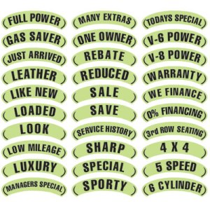 Black & Chartreuse Arch Slogan Stickers