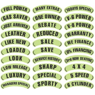 Black & Chartreuse Arch Slogan Stickers