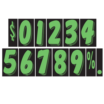 Green and Black Number Windshield Stickers