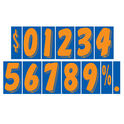 Orange and Blue Number Windshield Stickers