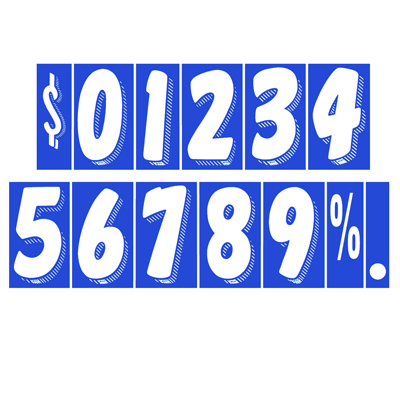 White and Blue Number Windshield Stickers