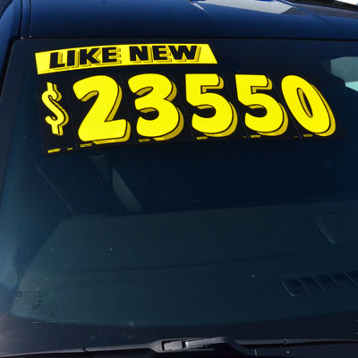 Yellow And Black Number Windshield Stickers