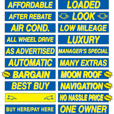 15 Quot Yellow Amp Blue Windshield Slogan Stickers Bpi Dealer