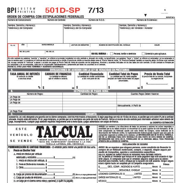 501D Vehicle Purchase Order in Spanish - BPI Custom Printing