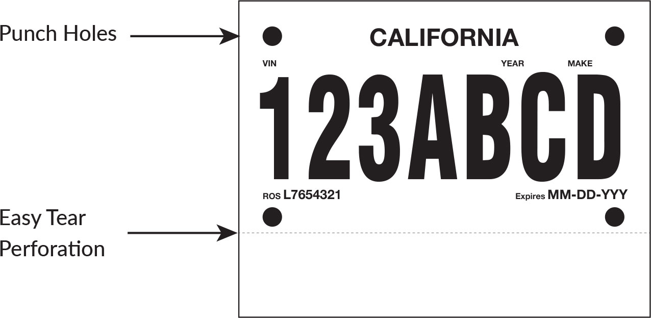 picture about License Plate Template Printable named Poliprint Solitary Perf Momentary License Plate Paper