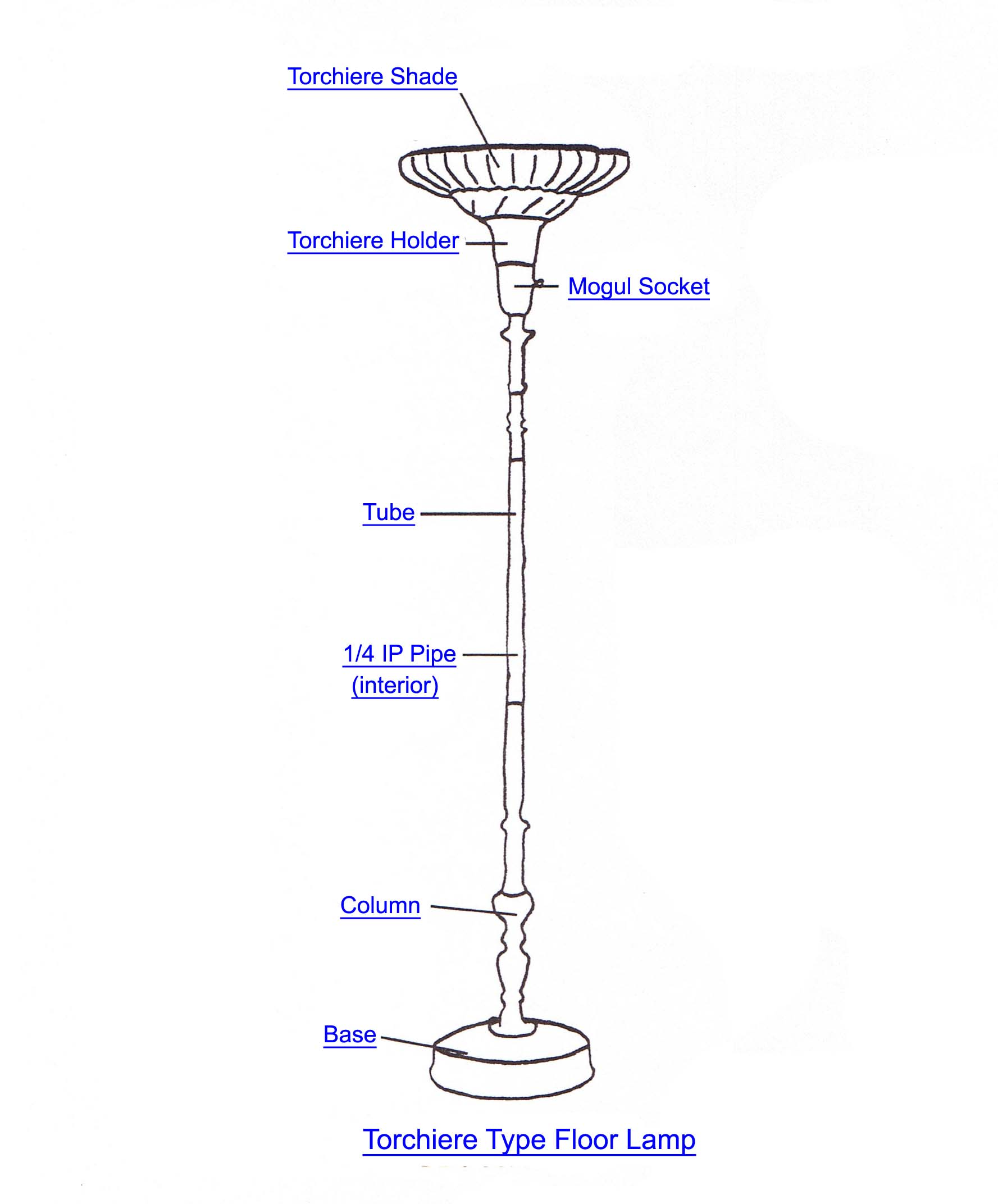 Torchiere Lamp Part Index