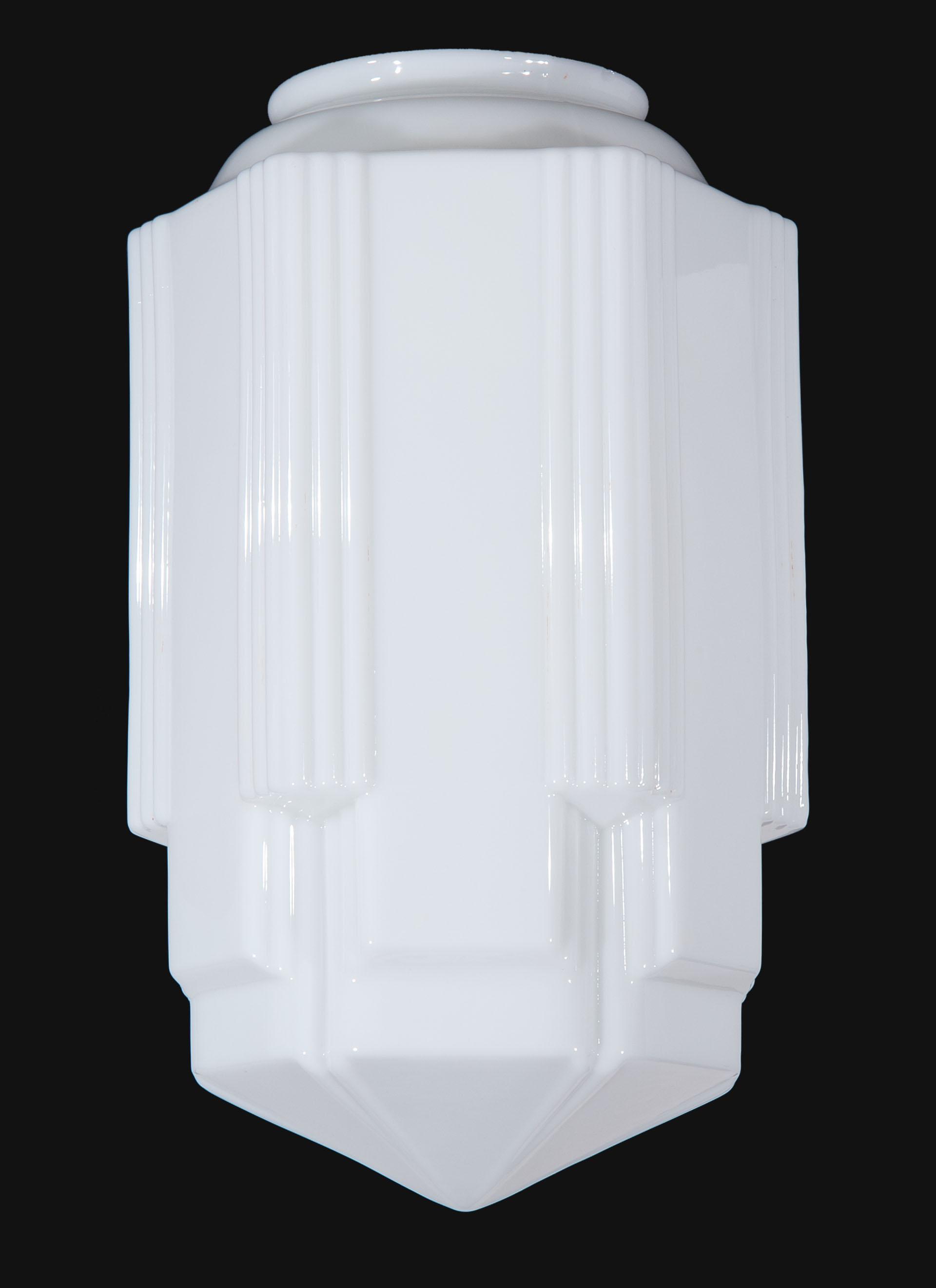 16 12 Tall Opal Glass Art Deco Pendant 08813  BP Lamp Supply