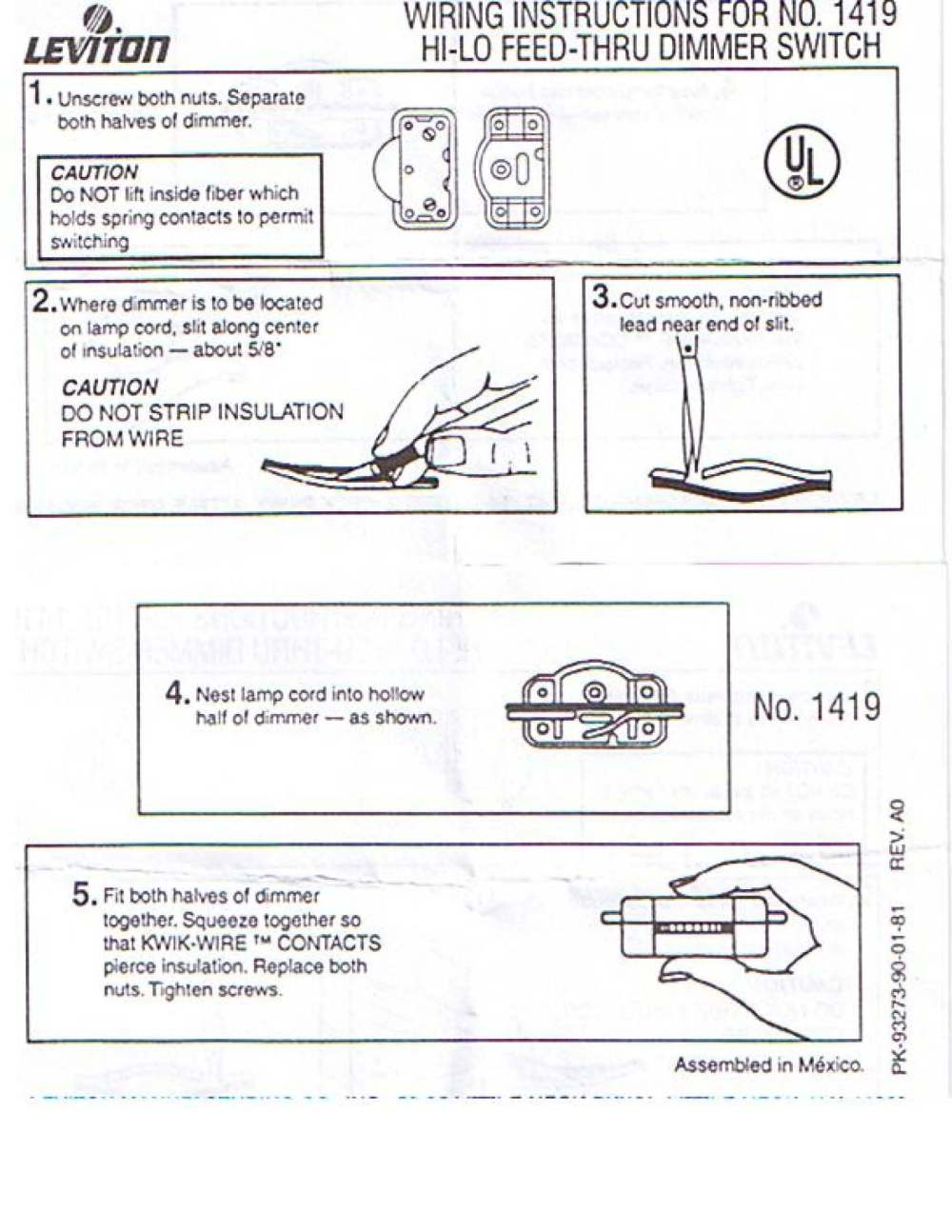 medium resolution of rotary on off lamp cord switch t rated neat easy to install no stripping of wires u l csa leviton brand find wiring instructions here