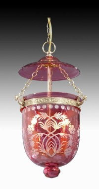 Tiny Hall Lantern with Cranberry Dome 69567B | B&P Lamp Supply