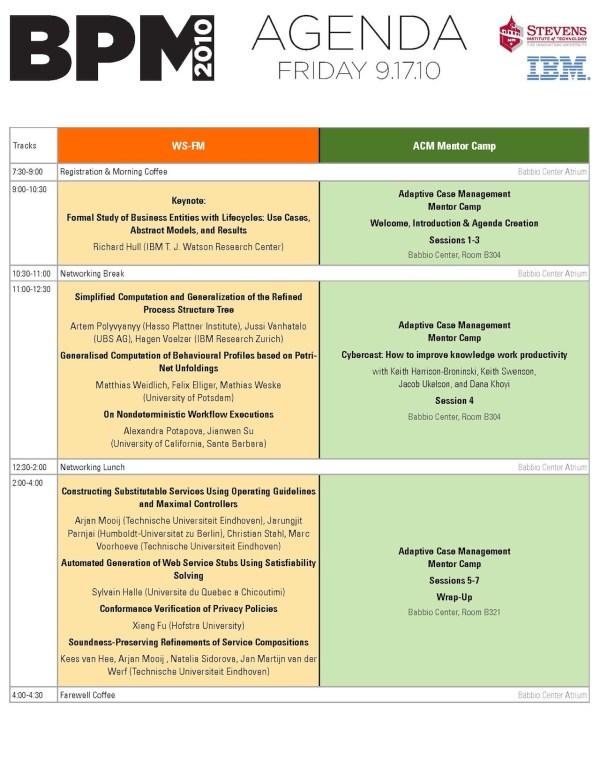 BPM 2010 Friday Agenda, September 17