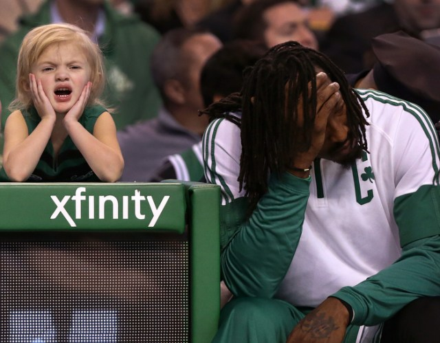 In a team rebuilding year, where wins are few and the makeover process is a long and arduous one, a little fan appears to mirror the sentiments of Boston Celtics veteran forward Gerald Wallace, a sparingly used bench warming reserve, as time wound down in the final minutes of a game against the Orlando Magic at TD Garden.
