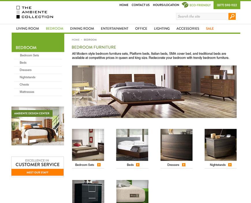 Online Catalog Web Design CMS Ambiente Furniture