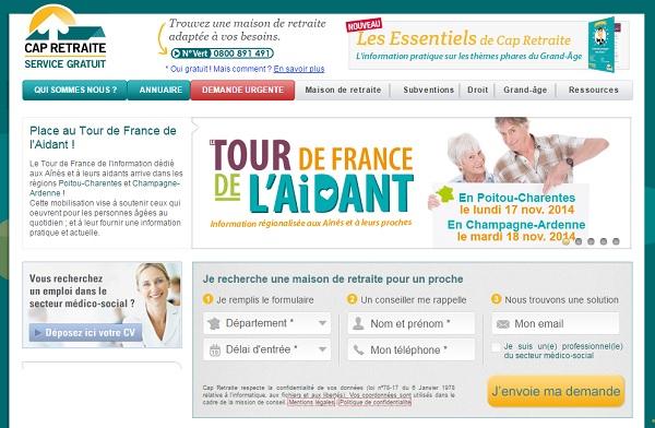 Cap Retraite est un portail web d'information et d'aide au choix de maison de retraite.