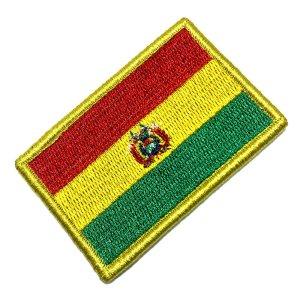 Bandeira Bolivia Patch Bordada Fecho de Contato Gancho