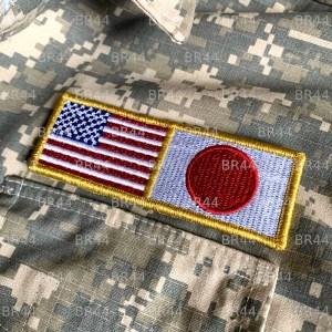Bandeira Japão EUA Patch Bordada Fecho de Contato Gancho