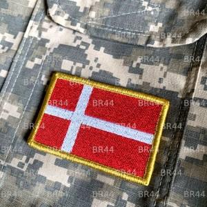 Bandeira Dinamarca Patch Bordada Fecho de Contato Gancho