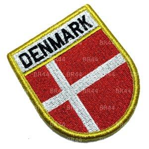 Bandeira Dinamarca Patch Bordada Fecho Contato Gancho