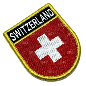 Bandeira Suíça Patch Bordada Fecho Contato Gancho