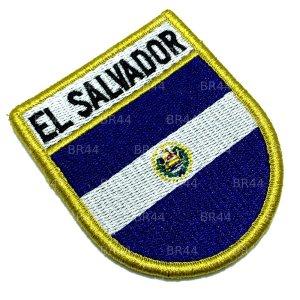 BP0203EV 01 Bandeira El Salvador Patch Bordada Fecho Contato