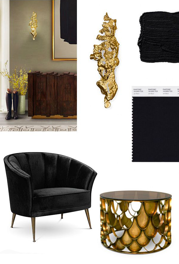 BLACK Amp GOLD Mood Board For A Stylish Living Room