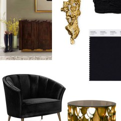 Office Chair Comfortable Posture Desk Stool Black & Gold Mood Board For A Stylish Living Room | Inspiration Ideas Brabbu Design Forces