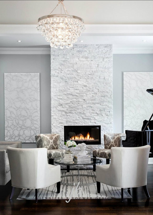 Modern Stacked Stone Fireplace