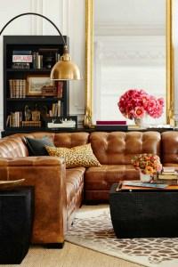 Living Room Inspiration: Tan Leather Sofa