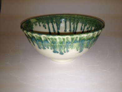 Kiwi drizzled over Clear on Porcelain