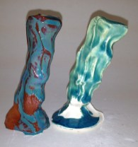 Turquoise Magic Flow on Earthenware White & Red
