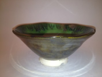 Conner Burns bowl glazed with Palladium on the outside, True Celadon on the inside, with an accented pattern of palladium over the celadon