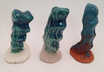 O-26 Turquoise over (l-r) Flint Hills Earthenware White, Standard Mocha, Flint Hills Earthenware Red