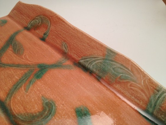 Indian Summer, 2 coats, with Old Copper over on swirly decoration, detail