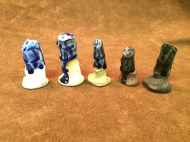 "blueberry ash alone on (l-r) Flint Hills Porcelain, Buff, Standard ""Chocolate Chip"", Laguna SB Red, Standard Brown"