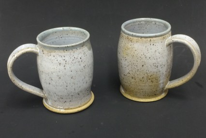 Eggshell with French Bleu over Standard 112 Brown, mugs thrown & glazed by Darla Heard