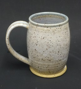 Eggshell with French Bleu over Standard 112 Brown, mug thrown & glazed by Darla Heard