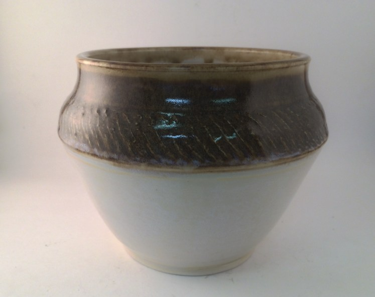 Eggshell with Amaco PC-30 Temmoku, pot, thrown & glazed by Aaron Riffel