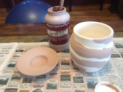 pre-fired image of pots, showing Antique Brown Application