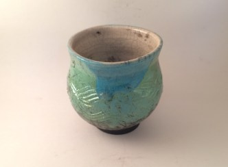 Caribbean Blue on outside, crackle white on inside with some overlap around rim, reduced in Excelsior