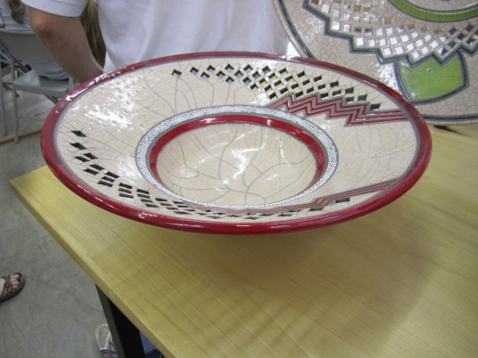 Eric Stearns Raku Platter with red striped accents and pierced detail