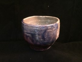 Dynasty Blue and crackle white test piece, reduced in sawdust