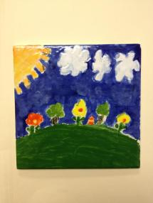 "From Diana Faris: ""a tile that my niece painted usign TP's at age 8 """