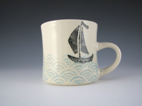 "sailboat mug, underglaze printing, 3x3x5"" 2014"