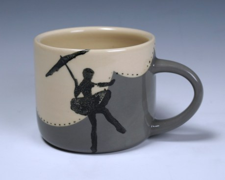 "high-wire ballerina mug, 2.5x3x5"" 2014"