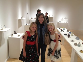With Sophie and Daphne at the Lawrence Arts Center for the 2014 Cone Box Show
